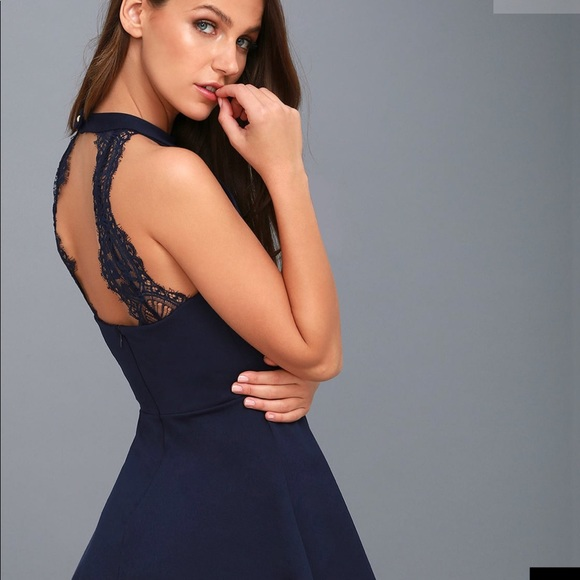 42684c0da9d2 Dresses | Brand New Navy Blue Lace Skater Dress | Poshmark